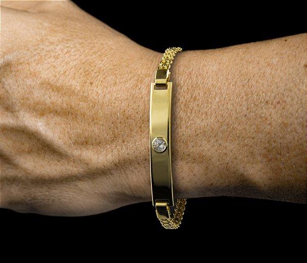 Pulseira Placa 1 Zircônia - Fecho Mosquetão (0,7 MM ) 19cm - 6,1g - Banhado a ouro 18k