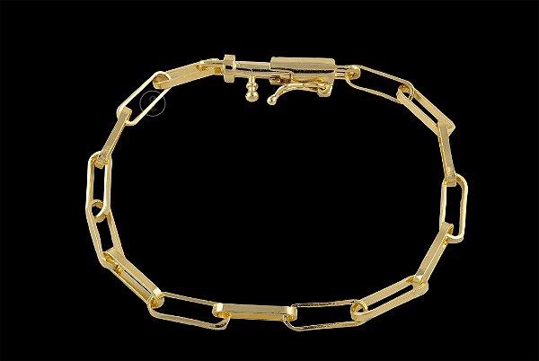 Pulseira Cadeado Cartie Elo Longo - Fecho Canhão (4,5 MM ) 21cm - 7,86g - Banhado a ouro 18k