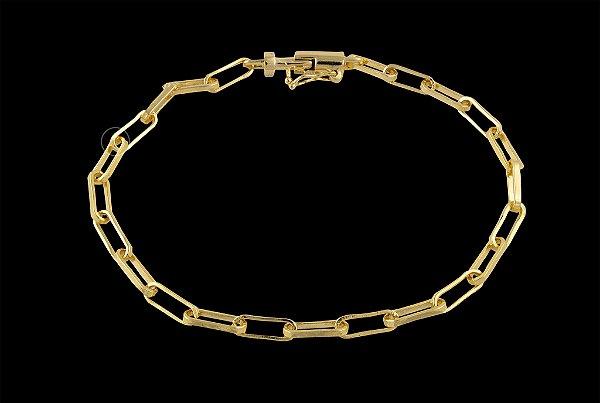 Pulseira Elo Médio - Fecho Canhão (3,5 MM ) 21cm - 5,02g - Banhado a ouro 18k