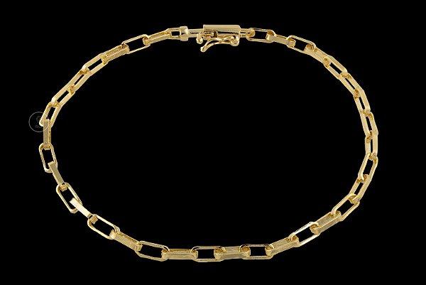 Pulseira Cadeado Cartie Elo Longo - Fecho Canhão (3 MM ) 21cm - 4,06g - Banhado a ouro 18k