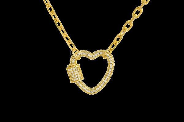 Conjunto Corrente Cartie Elo Curto + Pingente Coração Cravejado com Zircônias (4mm) - 45cm - 18g - Banhado a ouro 18k