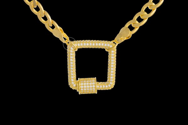 Conjunto Corrente Cubana + Pingente Quadrado Cravejado com Zircônia (6mm) - 45cm - 29g - Banhado a ouro 18k