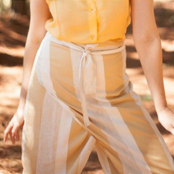Calça Pareô Listras Amarela