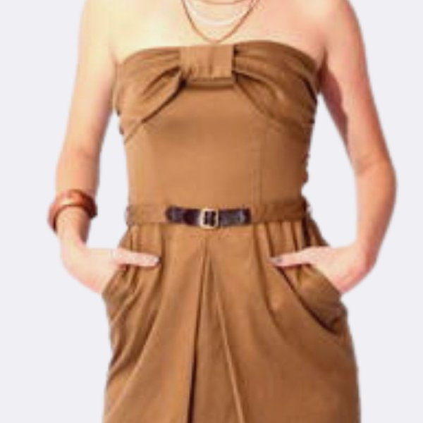 Vestido TQC Pregas Camelo