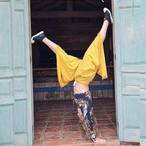 Calça Pantalona Sport Color Mostarda  Algodão