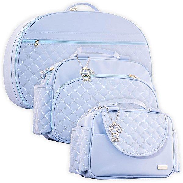 Kit Bolsas de Maternidade Matelassê Azul Claro - Baby Bless (3 peças)