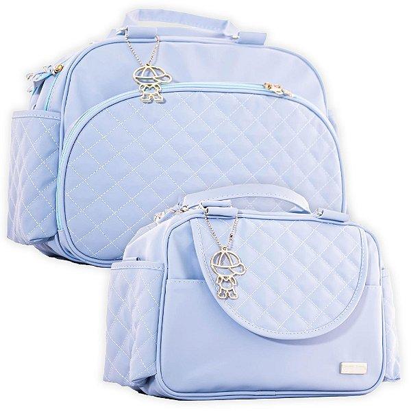 Bolsa Maternidade e Frasqueira Térmica Matelassê Azul Claro - Baby Bless