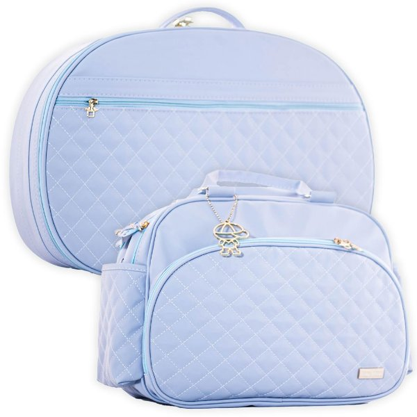 Mala e Bolsa Maternidade Matelassê Azul Claro - Baby Bless