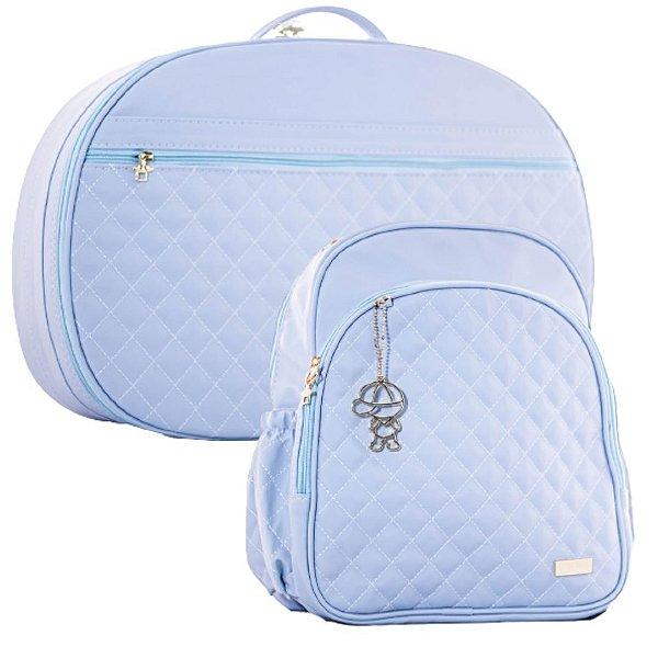 Mala e Mochila Maternidade Matelassê Azul Claro - Baby Bless