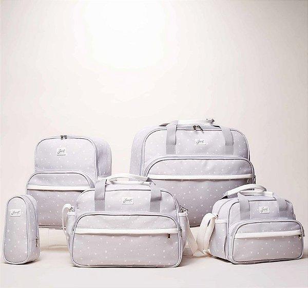 Kit Bolsas de Maternidade Star Cinza e Branco - Just Baby (5 peças)