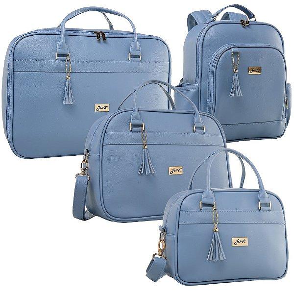Kit Bolsas de Maternidade Milão Slim Azul - Just Baby (4 peças)