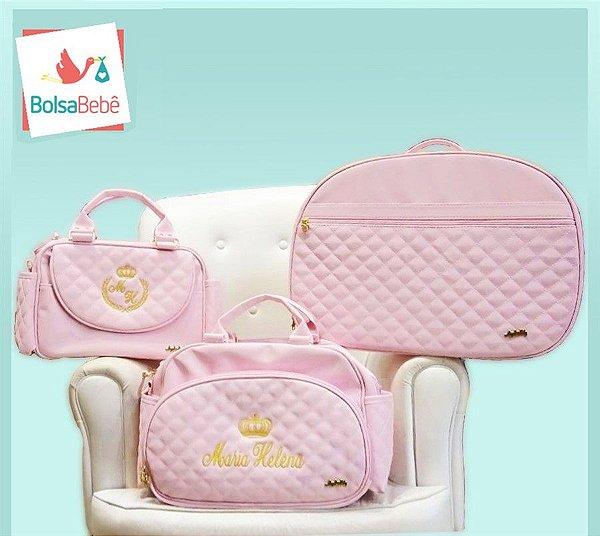 Kit Bolsas Maternidade Matelassê Rosa Personalizada - Angel's Baby