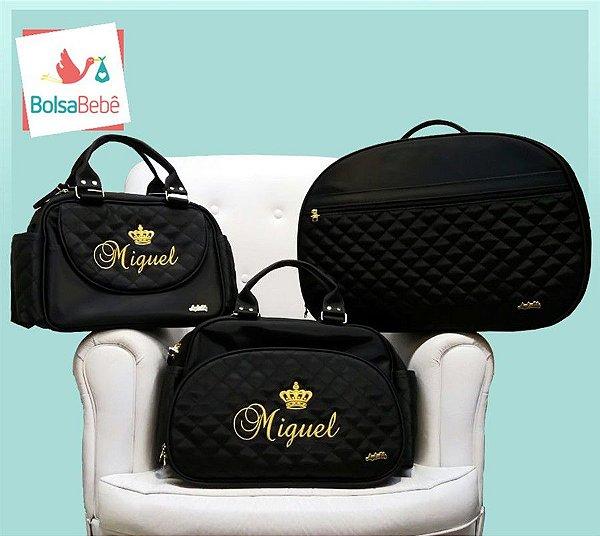Kit Bolsas Maternidade Matelassê Preto Personalizada - Angel's Baby