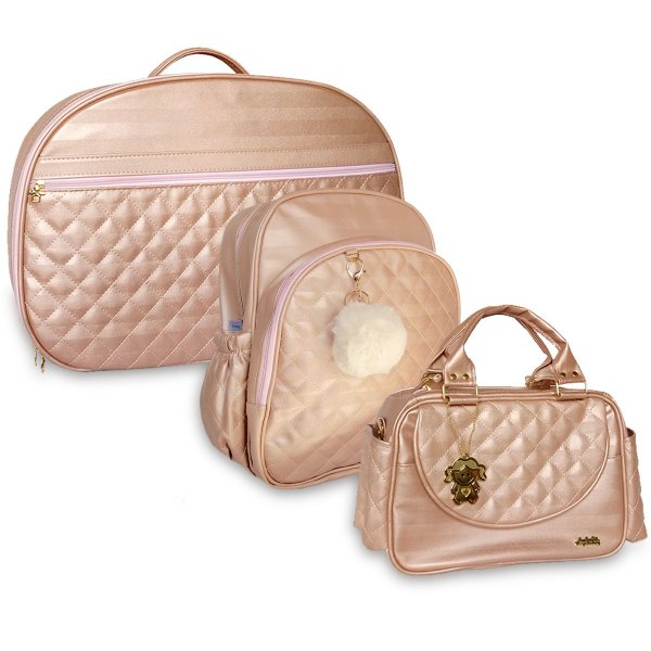 Kit Bolsas Maternidade C/ Mochila Matelassê Rosê Angels Baby 3 pçs