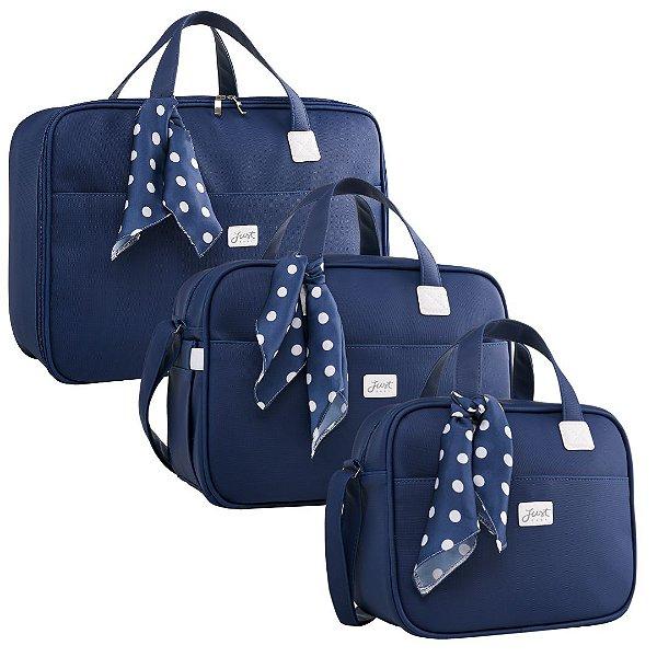 Kit Bolsas de Maternidade Candy Azul Marinho - Just Baby (3 peças)