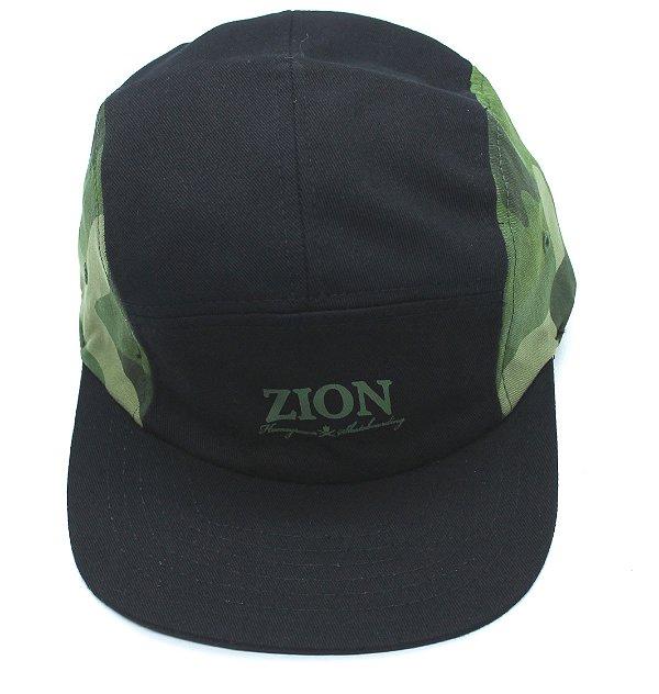Boné Five Panel Zion Camuflado Verde Claro (escrita)