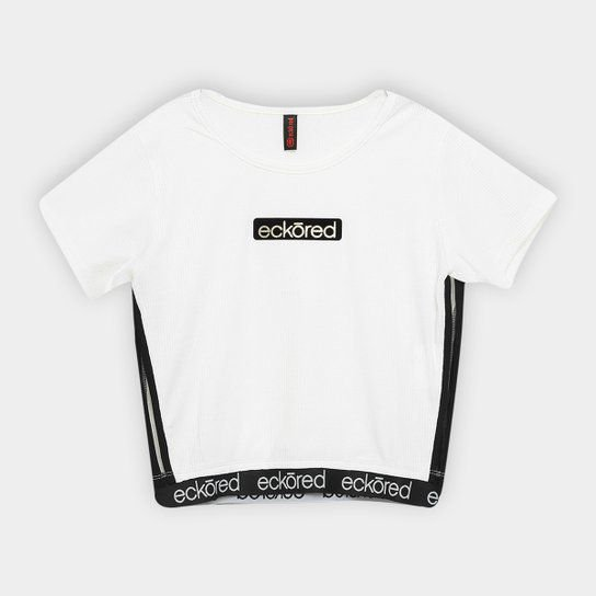 Camiseta Fem Ecko Branca Logo Dourado