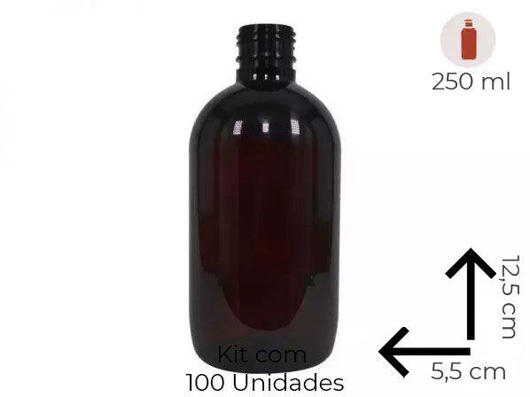 Frasco Âmbar 250ml Fármaco Cosmético Kit com 100 Unidades