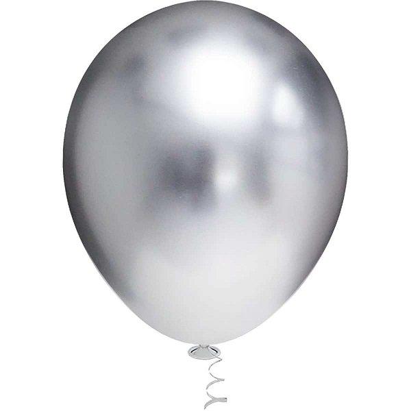 Balão Para Decoração Redondo N.010 Platino Prata Riberball