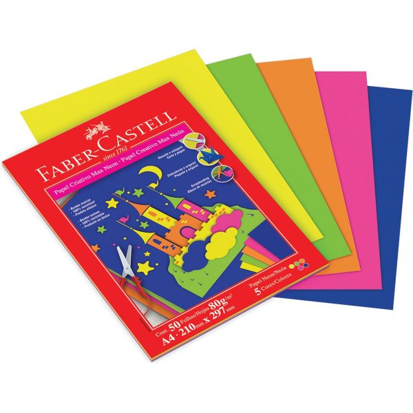 Bloco Para Educação Artística Criativo A4 80g 5cor. Neon 50f Faber-Castell