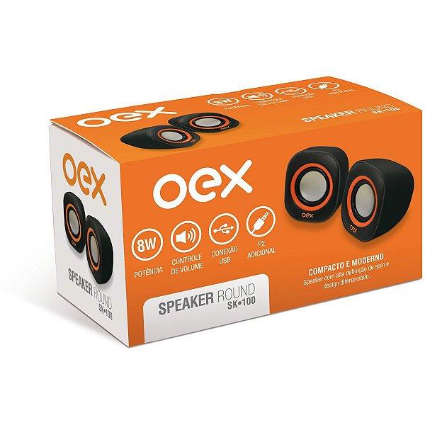 Caixa Acústica Para Computador Speaker Round 8w Usb/P2 Pt/Lj Newex
