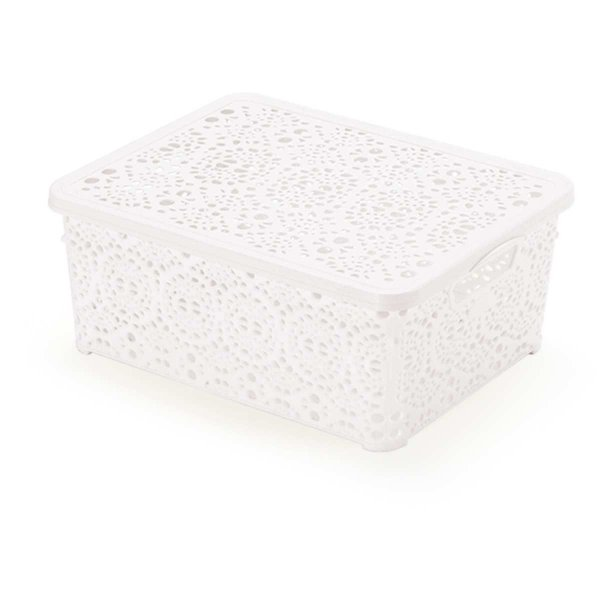 Caixa Plástica Multiuso Mini Mandala Branca 3,5l Monte Libano