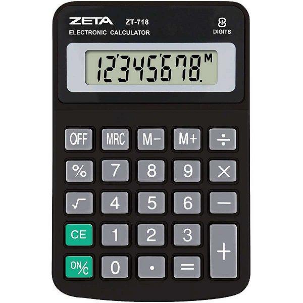 Calculadora De Mesa 8dig. Zeta Zt718 Preta Procalc