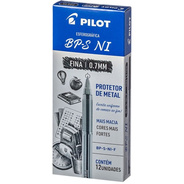 Caneta Esferográfica Bp-S 0.7mm Preta Pilot