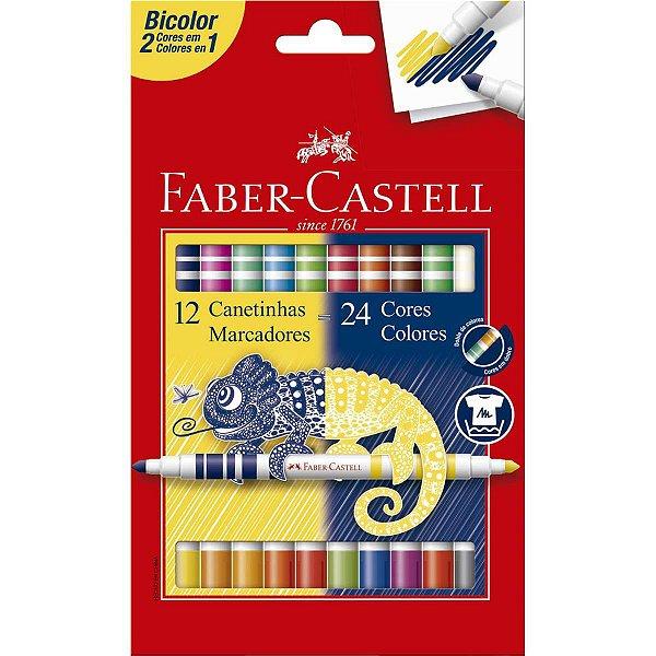 Caneta Hidrográfica Bicolor 12 Canetas/24 Cores Faber-Castell