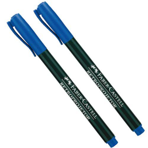 Caneta Retroprojetor 1.0mm Media Azul Faber-Castell