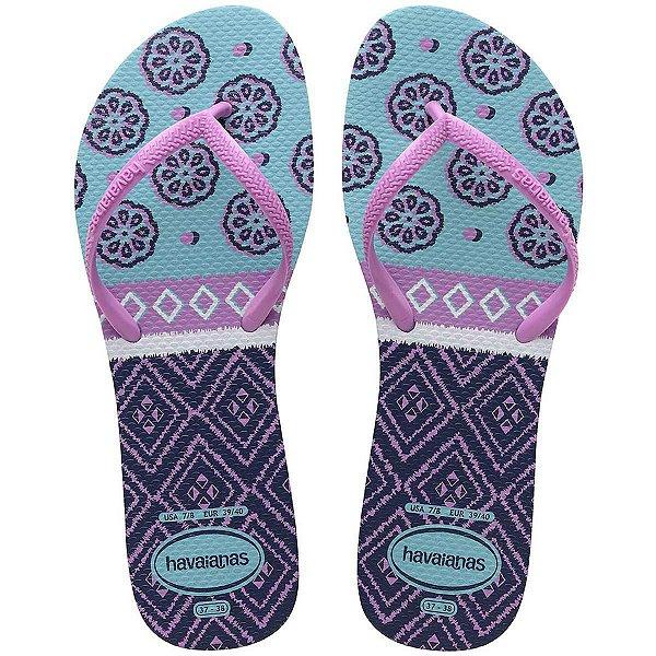 Chinelo Havaianas Feminino Flat Mix 35/6 Azul/Ice Pink Havaianas
