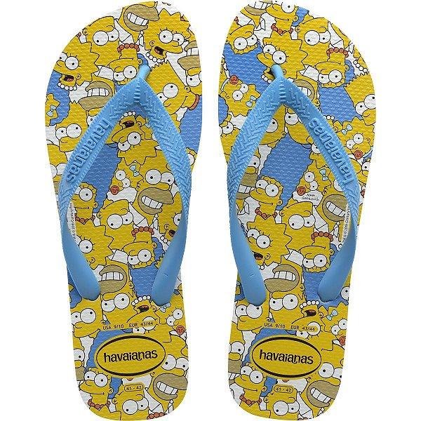 Chinelo Havaianas Masculino Simpsons 41/2 Branco/Turquesa Havaianas