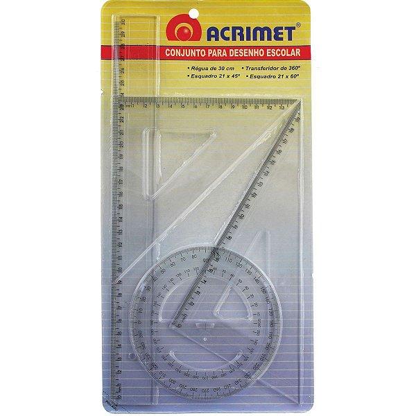 Conjunto Para Desenho 2 Grau Reg.30cm+Esq.21cm+Trans.360âºcr Acrimet