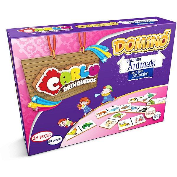 Domino Animais Em Madeira 28pcs Carlu