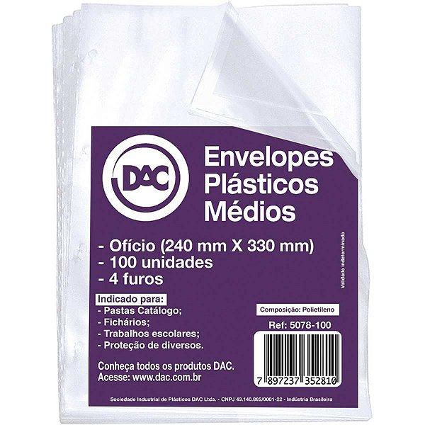Envelope Plástico Oficio 4furos Medio 0,10mm Dac