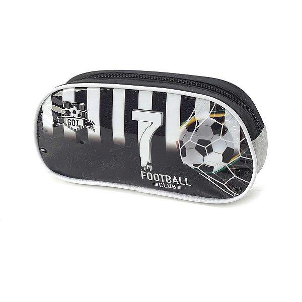 Estojo Tecido Futebol Pq 1ziper Preto Luxcel