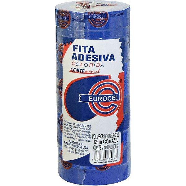FITA ADESIVA PP 2000 12MMX30M AZUL EUROCEL