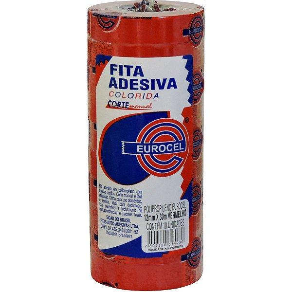 FITA ADESIVA PP 2000 12MMX30M VERMELHA EUROCEL