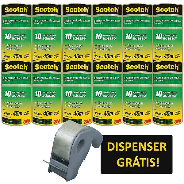 Fita Para Empacotamento Scotch 5802 Trans.45X45M+Dispe 3M