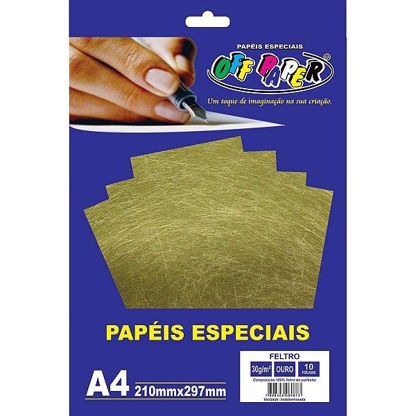Folha Feltro A4 Ouro 30G/m 10Fls. Off Paper