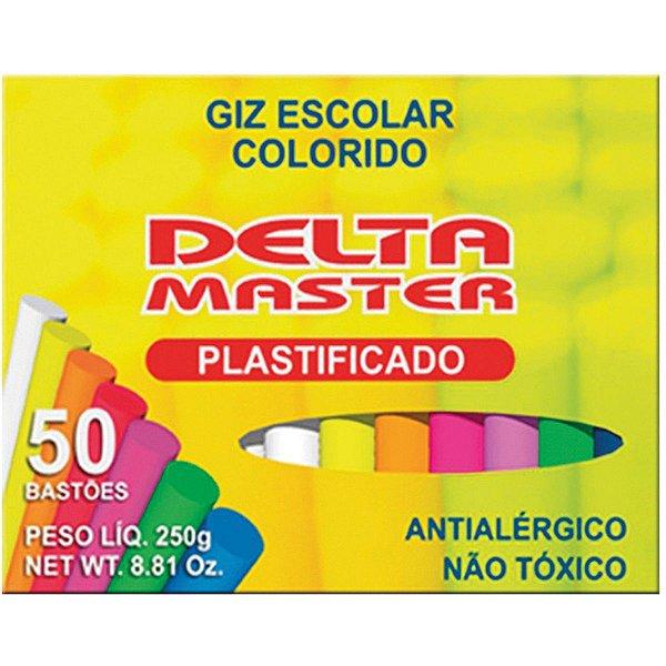Giz Escolar Plastificado Color 30Cxsx50Palitos Delta