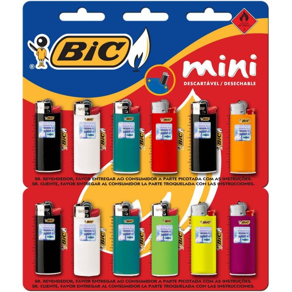 Isqueiro Descartavel Bic Mini A Gas Cartela C/12Und Bic