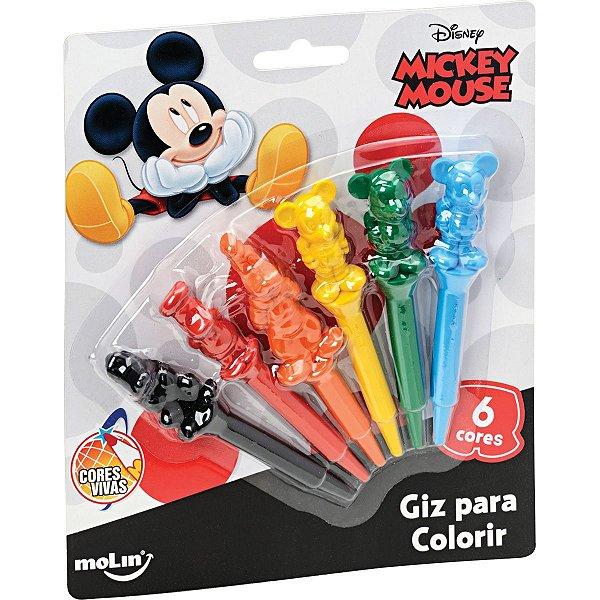 Lapis De Cera Fino Mickey 3D C/6 Cores Molin