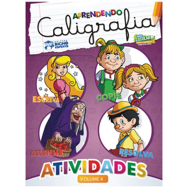 Livro Pedagogico Caligrafia N.4 Atividades 24Pag. 20X27Cm Bicho Esperto