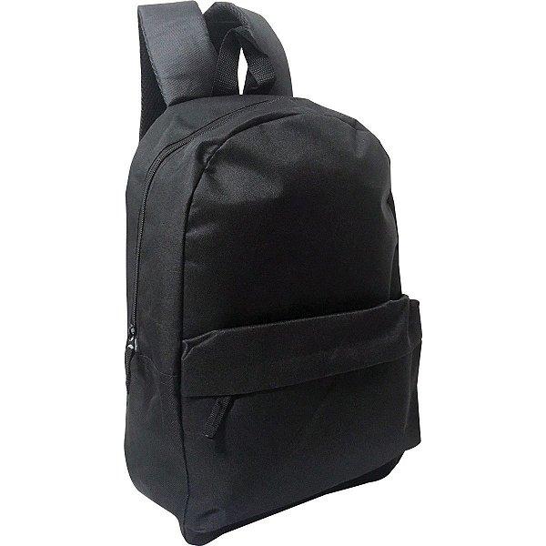 Mochila Escolar Basic Black Gd 1Bolso Preta Kit