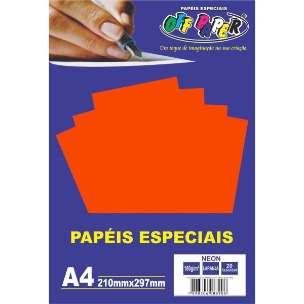 Papel A4 Neon Laranja 180G. Off Paper
