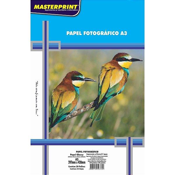Papel Fotografico Inkjet A3 Glossy Adesivo 130G Masterprint