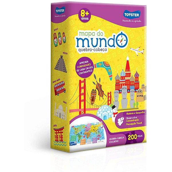 Quebra-Cabeca Cartonado Mapa Do Mundo 200Pcs Toyster