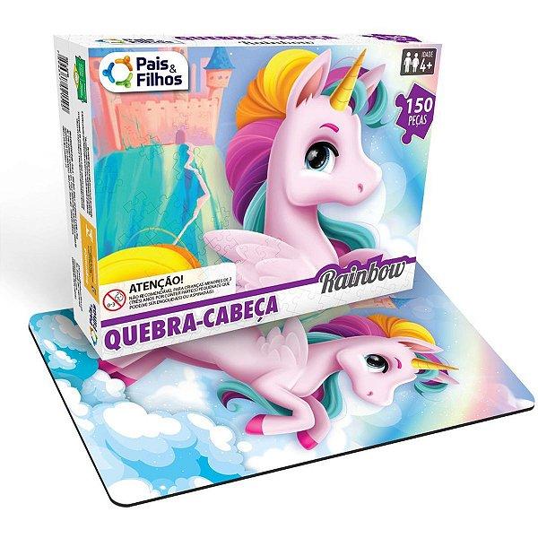 Quebra-Cabeca Cartonado Unicornio Rainbow 150 Pecas Pais E Filhos