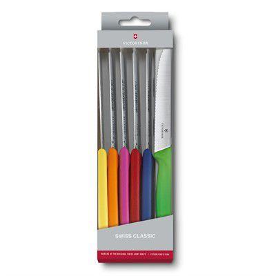 Conjunto com 6 facas de mesa coloridas (6pçs)